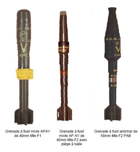 Grenades a fusil contemporaine