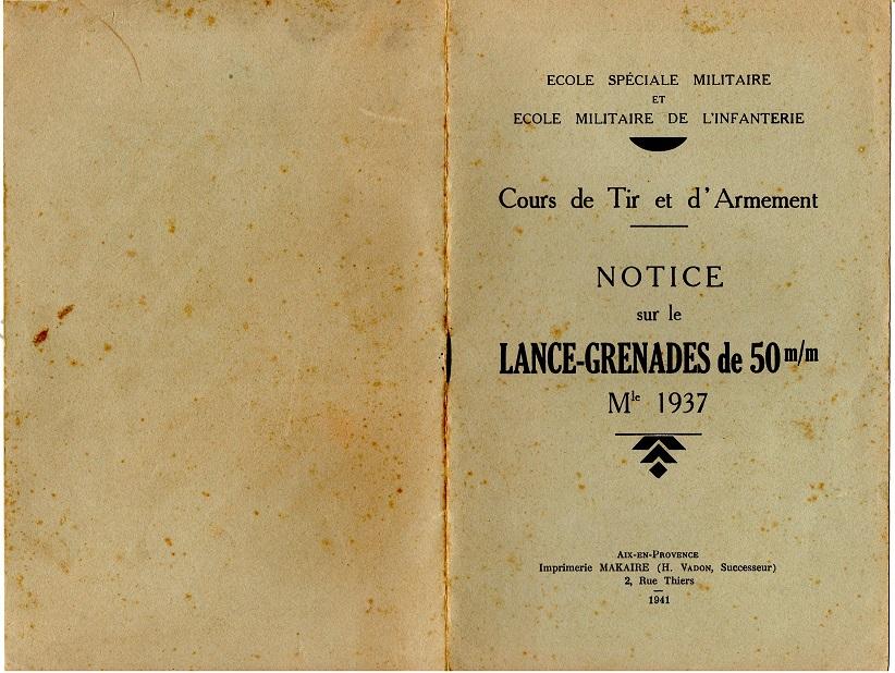 Notice lance grenade mle 37 1