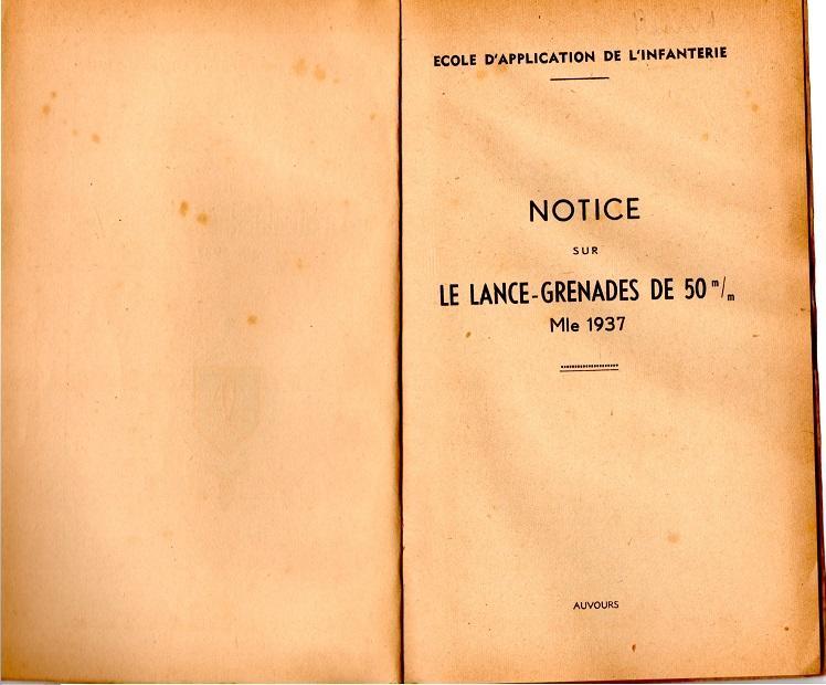 Notice lance grenade mle 37 1947 2