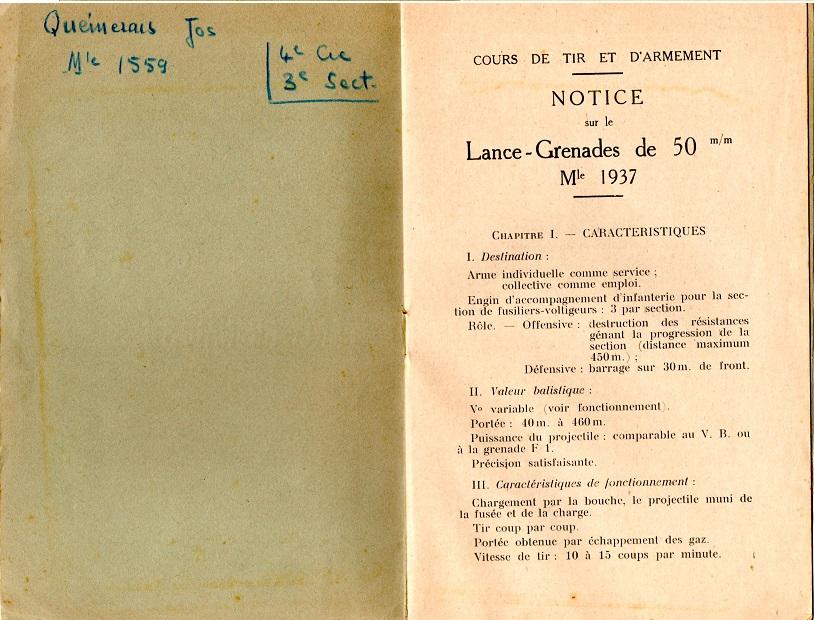 Notice lance grenade mle 37 2